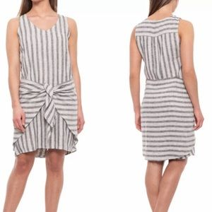 Anthropologie DREW Dress Striped Linen Tie Front